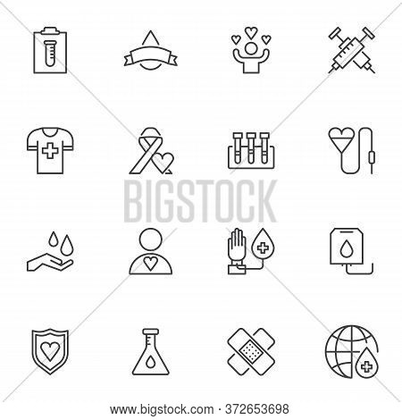 Hematology Line Icons Set, Blood Donation Outline Vector Symbol Collection, Linear Style Pictogram P