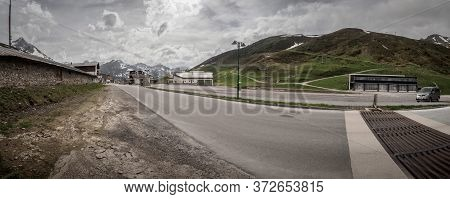 Tyrol/kuehtai - June 2019: Panorama Of The Deserted Ski Resort Kühtai In Tyrol In Summer