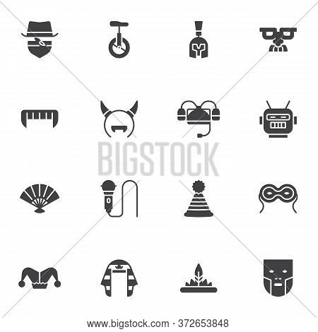 Carnival Party Vector Icons Set, Modern Solid Symbol Collection, Costume Party Filled Style Pictogra
