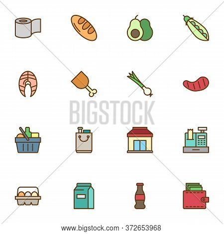 Grocery Shopping Filled Outline Icons Set, Line Vector Symbol Collection, Linear Colorful Pictogram