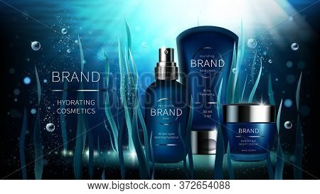 Natural Algae Vector Cosmetic Realistic Ads Poster. Spray Bottle, Cream Jar And Seaweed On Blue Unde