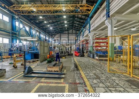 The Interior Of A Large Factory For The Processing Of Metal Profiles And Wire.modern Industrial Ente