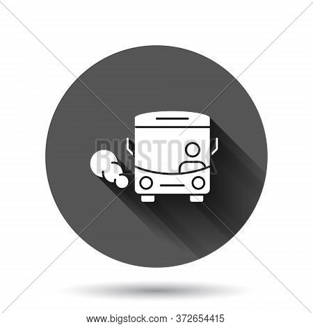 Bus Icon In Flat Style. Coach Vector Illustration On Black Round Background With Long Shadow Effect.