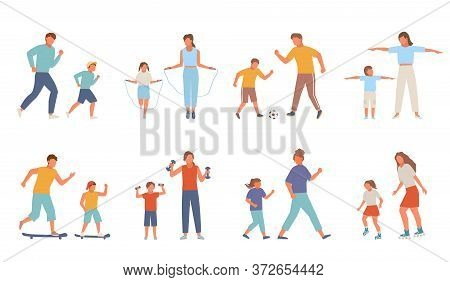 Active Family Sport Set. Mother Daughter Teenager Jump Rope Rollerblading Jogging Morning Father Son