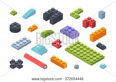 Kids Constructor Isometric Blocks Set. Multicolored Tiles And Parts Assembly Toy Models Geometric St