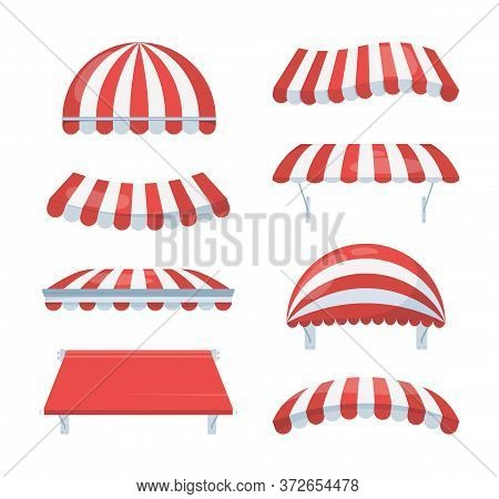 Canopy Striped Set. Fashionable Red White Awnings Shelter From Rain Sun Necessary Accessory Cafe Ret