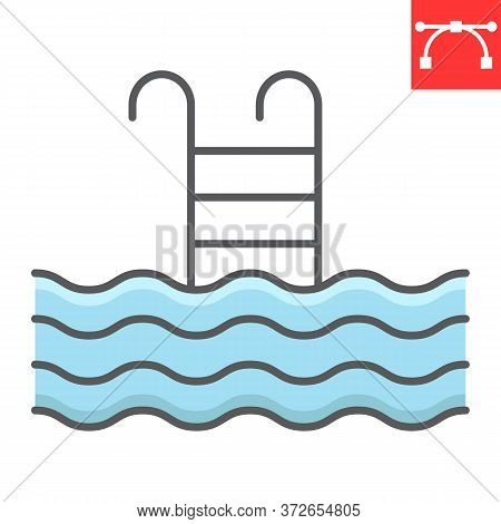 Swimming Pool Color Line Icon, Fitness And Swim, Pool Sign Vector Graphics, Editable Stroke Colorful