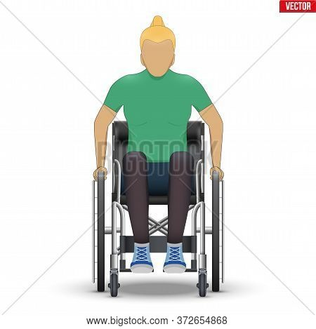 Disabled Woman In Wheelchair. Disability Man Sitting In Wheelchair And Hold Wheel. Front View. Vecto