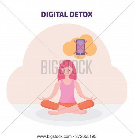 Digital Detox Concept. Female Character. Woman. Girl. Refusal Of Detoxification Phone. The Practice