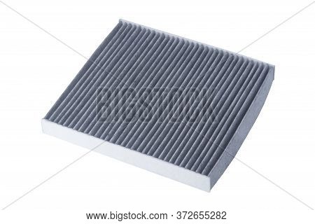 Gray Rectangular Air Filter For Car Isolated On White Background
