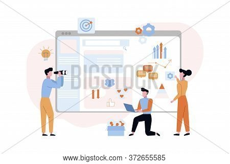 Promotion Website Debugging Concept. Seo Marketers Programmers Connect Analyze Corporate Website Con