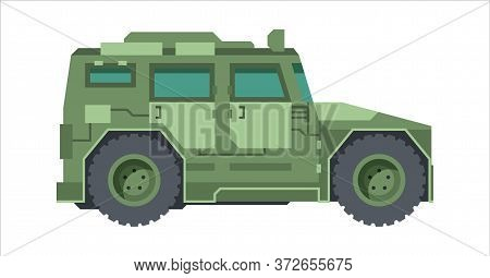 Military Camouflage Jeep. Armored Mobile Suv Green Hammer Car With Radar Quick Transportation Soldie