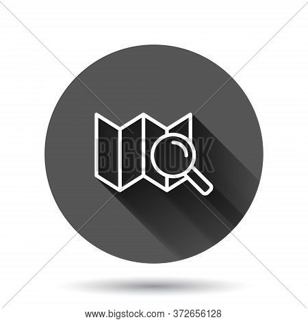 Search Location Icon In Flat Style. Gps Navigation Vector Illustration On Black Round Background Wit