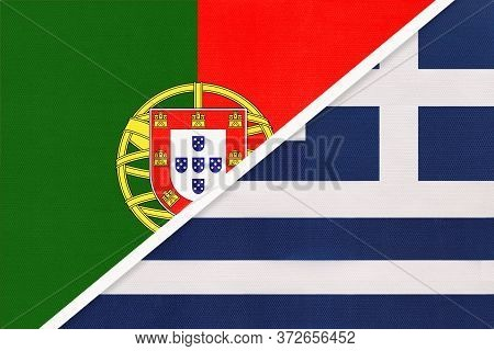 Portugal Or Portuguese Republic And Greece Or Hellenic Republic, Symbol Of National Flags From Texti