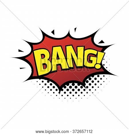 Comic Lettering Wow. Comic Speech Bubble With Emotional Text Bang. Bright Dynamic Cartoon Illustrati