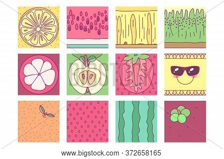 Vector Template Fruit Set. Print For Disposable Tableware