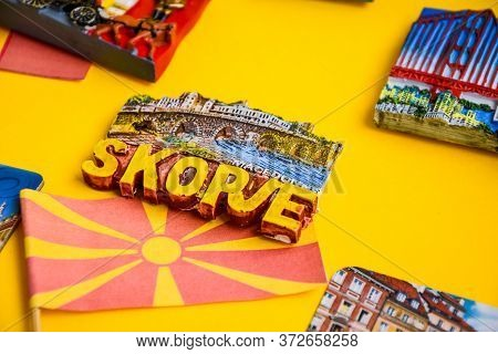 Macedonia Travel Concept, Magnet From Skopje And Macedonian Flag, Planning Trip