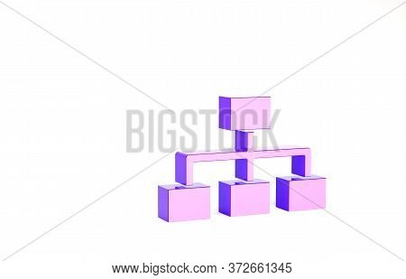 Purple Business Hierarchy Organogram Chart Infographics Icon Isolated On White Background. Corporate