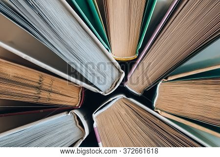 Stack Of Old Book Education Concept Background, Many Books Piles With Copy Space For Text, Book Tops