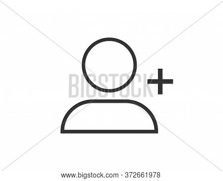 Person Outline Silhouette. Social User Icon With Plus Sign. Linear Profile Pictogram. Member Avatar