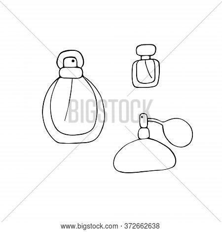 Perfume Icons Set. Different Shapes Of Bottles. Fragrance Signs. Doodle Hand Drawn Vector Graphic.