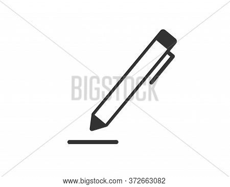Pen Tool Icon. Drawing Pencil. Simple Outline Edit Symbol. Isolated Ink Instrument For Documents. Of