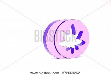 Purple Herbal Ecstasy Tablets Icon Isolated On White Background. Minimalism Concept. 3d Illustration