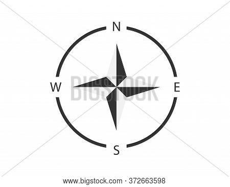 Compass Sign. North, West, South And East Direction. Map Navigation With Star Shape. Isolated Retro