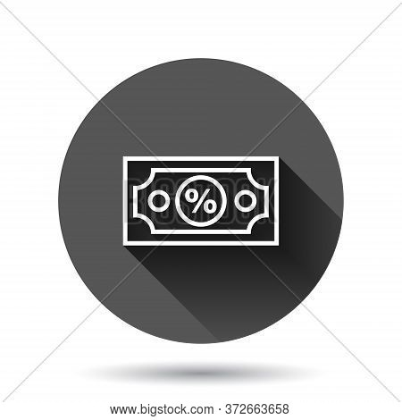 Dollar Currency Banknote Icon In Flat Style. Dollar Cash Discount Vector Illustration On Black Round