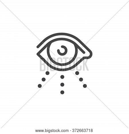 Thin Outline Icon Open Human Eye, Eyeball. Such Line Sign As Visual Perception, Eyecare Or Oculist A