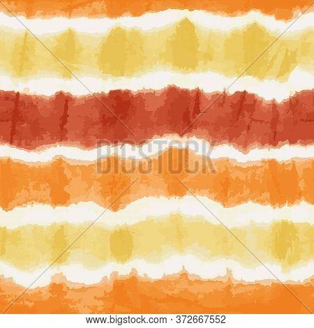 Orange Yellow Tie Dye Stripes Seamless Vector Pattern. Textured Japanese Shibori Background. Modern