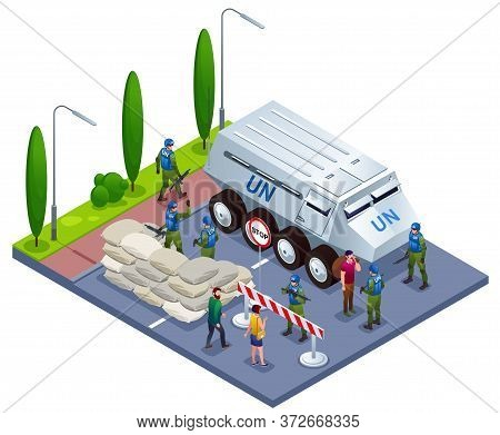 Peacekeepers Blue Helmets Checks Documents Of Citizens In Roadblock Illustration Isometric Icons On