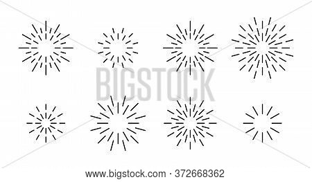 Star Shape Outline Fireworks Explosion Pattern Set. Black Line Star Shaped Firework Pattern Collecti