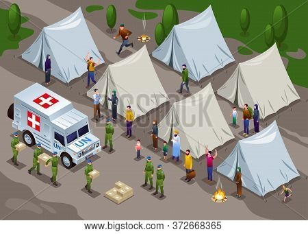 Peacekeepers Blue Helmets United Nations Delivered Humanitarian Aid In Refugee Camp Illustration Iso