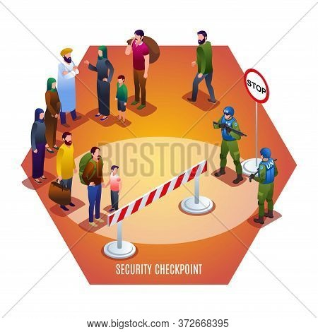 Security Checkpoint Of Peacekeepers Blue Helmets Illustration Isometric Icons On Isolated Background
