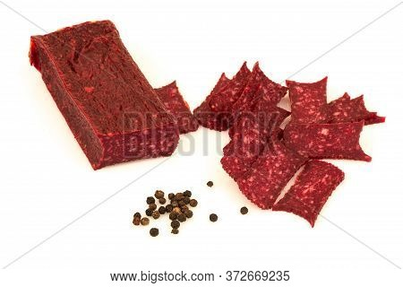 Stick Sausage, Wurst, Slice, Salami, Ham Sliced With Pepper, Peppercorn. Isolated On White Backgroun