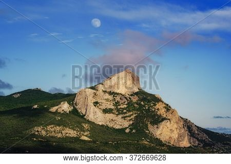 High Mountain In Evening Time. Beautiful Natural Landscape. Dramatic Scene. Beauty World. Summer Nat