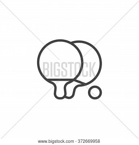 Ping Pong Game Line Icon. Linear Style Sign For Mobile Concept And Web Design. Ping Pong, Racket And