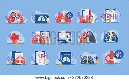 Lung Inspection Xray Stethoscope Medicine Analysis Flat Icons Set Isolated On Blue Background Vector
