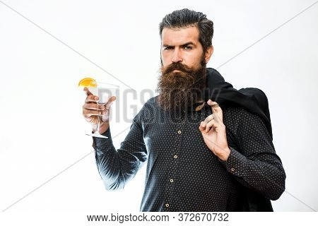 Hipster Raising Glass With Margarita. Man Holds Glass, Margarita Cocktail.