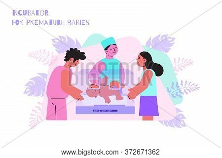 Newborn Baby Lying In Premature Incubator And His Parents Flat Vector Illustration