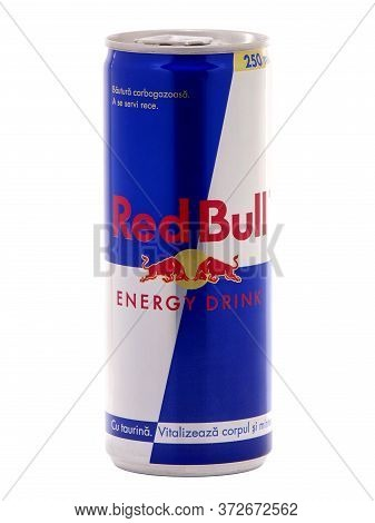 Bucharest, Romania - December 6, 2016. Can Of Red Bull Energy Drink By Austrian Company Red Bull Gmb