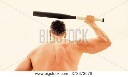 Man With Baseball Bat. Hooligan Man Hits The Bat. Bandit Gang And Conflict. Muscular Man Fighting. F