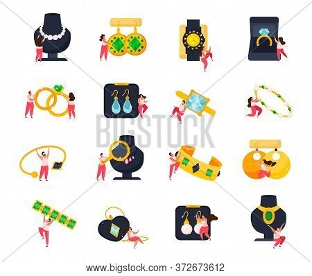 Jewelry Flat Icons Set Of Doodle Human Characters With Luxury And Valuable Items On Blank Background