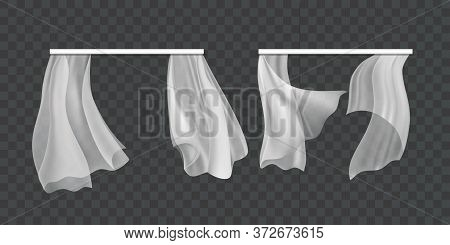 Realistic 3d Detailed Window Fluttering White Curtains Set On A Transparent Background. Vector Illus