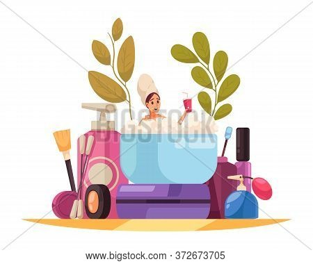 Makeup Beautician Stylist Composition Of Female Cosmetic Product Packages And Woman Flat Character I
