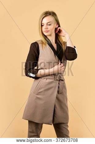 Female Autumn Fashion. Style For Real Woman. Wear Trendy Color Only. Woman In Classy Elegant Jacket.