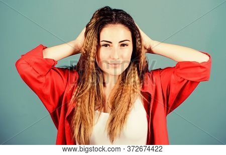 Crimped Hairstyle. Girl Stylish Hairstyle On Blue Background. Extra Volume. Hair Crimping Method Sty
