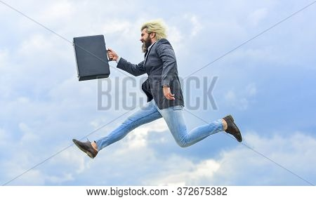 Businessman Run Away Business Case. Feel Impact. Hipster Hold Briefcase. Happy Worker. Freedom. Feel
