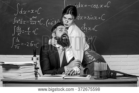 Harassment At Work. Seductive Girl Cuddle Man. Sex Education. Resist Temptation. Sexual Temptation A
